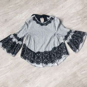 Zara Tops - Striped Lace Flare Sleeve Blouse!